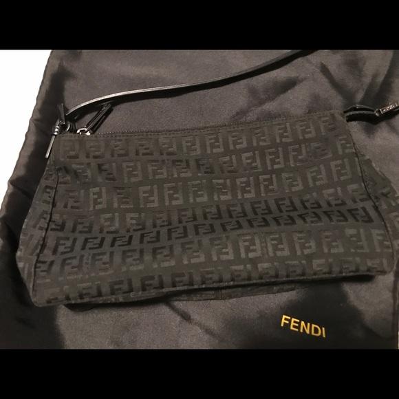 ... free shipping fendi black zucca canvas leather shoulder bag c8972 f9e02 2b703c5dea
